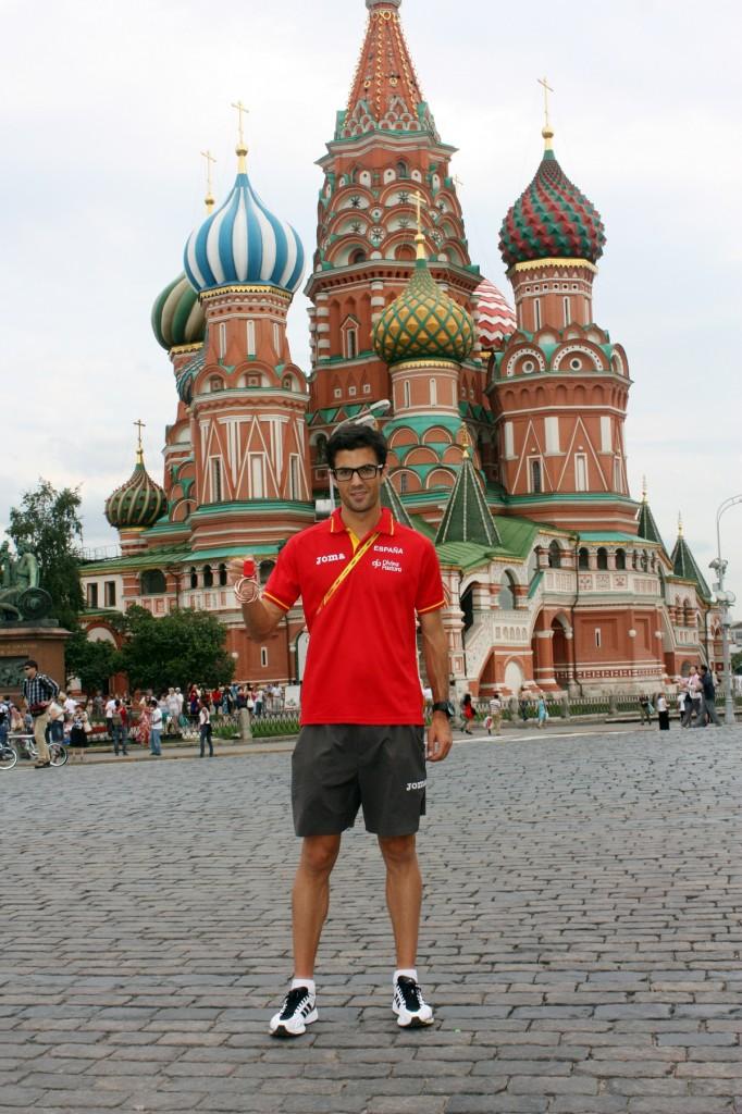 Miguel ángel Lopez na Praça Vermelha em Moscou